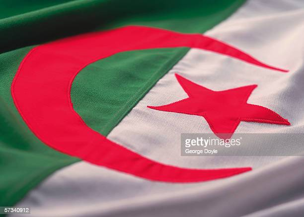 close-up of the flag of Algeria