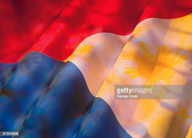 close-up of the flag of philippines - philippines flag stock pictures, royalty-free photos & images