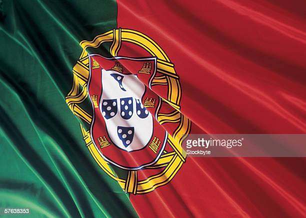 close-up of the flag of portugal - bandeira de portugal imagens e fotografias de stock