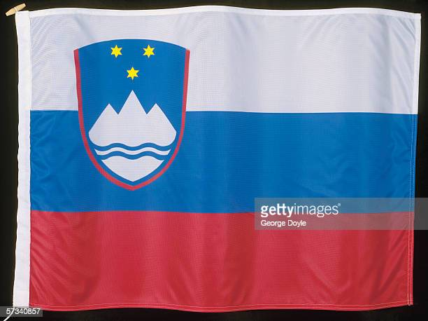 close-up of the flag of slovenia - スロベニア国旗 ストックフォトと画像