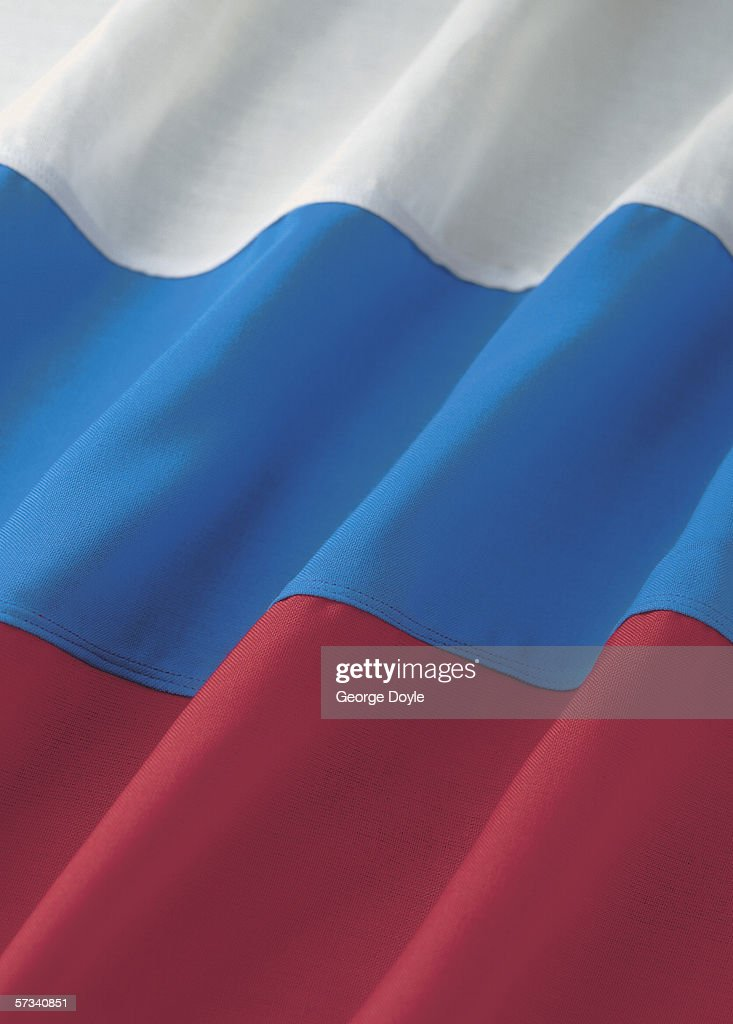 Close-up of the flag of the Russian federation : Stock Photo