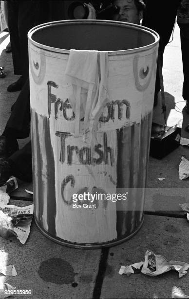Close-up of the 'Freedom Trash Can' on the Atlantic City Boardwalk during a protest against the Miss America beauty pageant, Atlantic City, New...