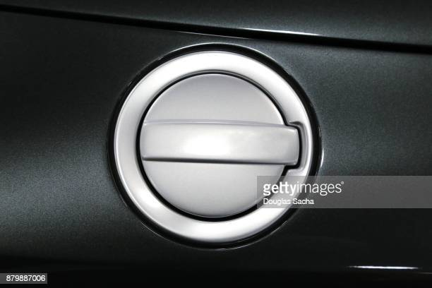 close-up of the fuel door on an automobile - gas tank stock photos and pictures