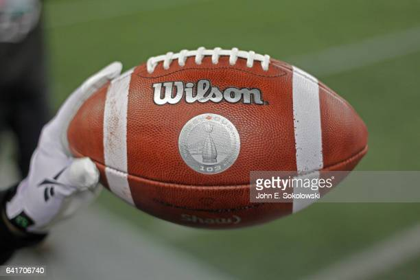 November 29: A close-up of the game ball with the logo of the CFL 103rd Grey Cup Game at Investors Group Field on November 29, 2015 in Winnipeg,...