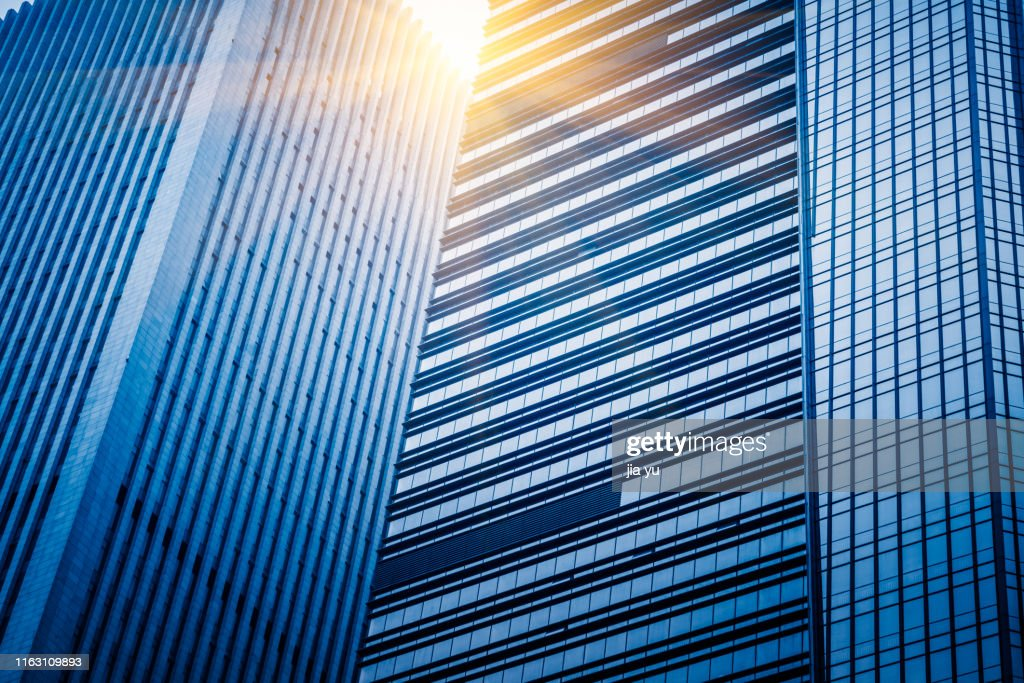 close-up of the glass curtain wall of a building in Wuhan : Stock Photo