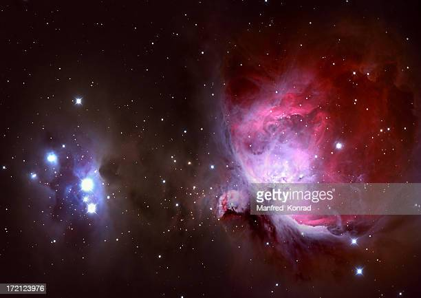 closeup of the great orion nebula - nebula stock pictures, royalty-free photos & images