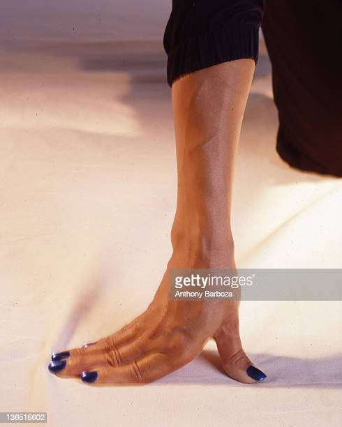 Closeup of the hand and arm of American track and field athlete Florence GriffithJoyner Los Angeles California 1997
