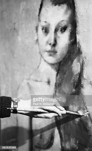 Closeup of the hand of American artist Jack Levine in his studio New York New York February 27 1962