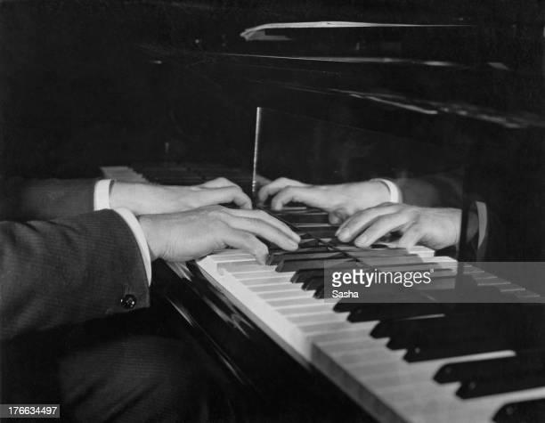 Closeup of the hands of German pianist Wilhelm Backhaus circa 1920