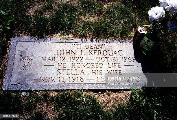 Closeup of the headstone at the grave of American author Jack Kerouac and his wife Stella Lowell Massachussets June 21 1995 The stone reads 'Ti Jean...