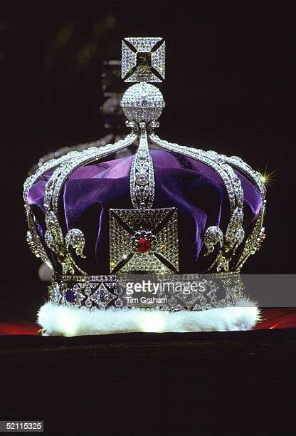 Close-up Of The Imperial Crown Of India Made For King George V On Display In The Jewel House At The Tower Of London.