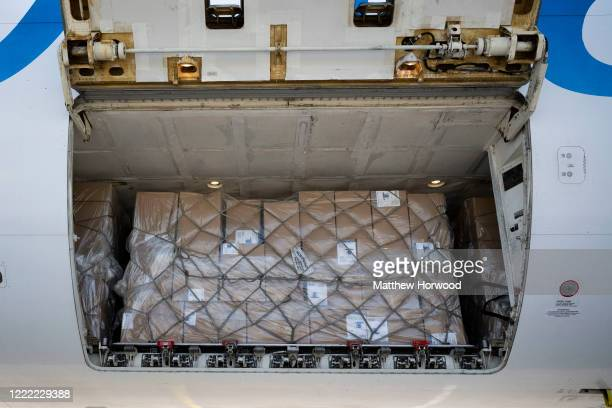 Close-up of the inside of a Pegas Fly aircraft hold which has brought PPE from Hangzhou, China, to Cardiff Airport for distribution to health workers...