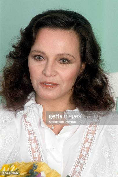 Closeup of the Italian actress Laura Antonelli known for her role in the film Malice by Salvatore Samperi the actress is wearing a white blouse with...
