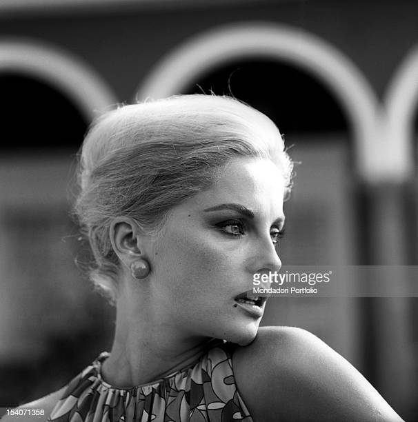 Close-up of the Italian actress Virna Lisi, born as Virna Pieralisi, in a seducing pose. Rome, Italy, 1964.