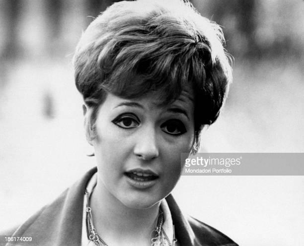 Closeup of the Italian singer actress presenter showgirl and impersonator Loretta Goggi looking doubtful last year Loretta Goggi reached success and...