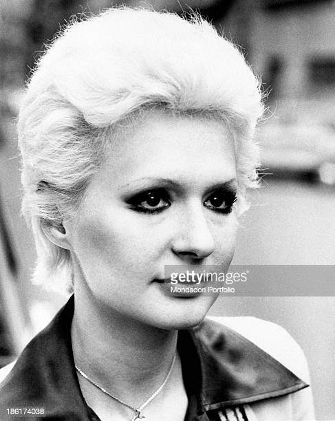 Closeup of the Italian singer actress presenter showgirl and impersonator Loretta Goggi who has recently presented the TV musical show Canzonissima...
