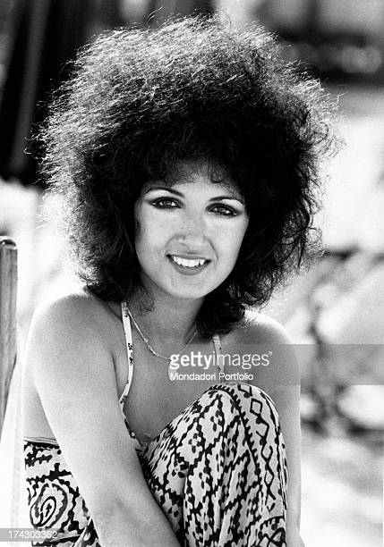Closeup of the Italian singer Marcella Bella famous for her voice and for her curly and thick black hair in these years she is definitely recognized...