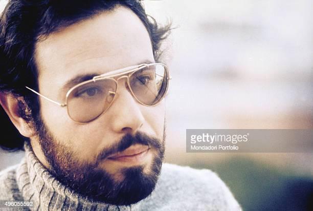 Closeup of the Italian songwriter Antonello Venditti during a photo shoot Italy 1972