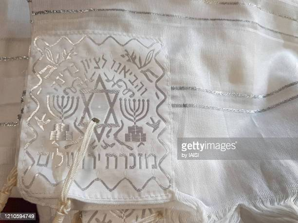 close-up of the jewish prayer shawl / talith, white, sephardic tradition - jewish prayer shawl stock pictures, royalty-free photos & images