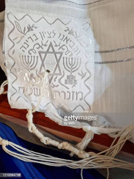 close-up of the jewish prayer shawl / talith, white, sephardic tradition,vertical view - jewish prayer shawl stock pictures, royalty-free photos & images