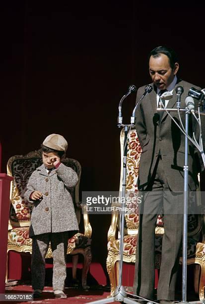 CloseUp Of The King Hassan Ii Of Morocco Au Maroc en janvier 1968 le Roi HASSAN II portant un costume cravate durant un discours devant des micros et...