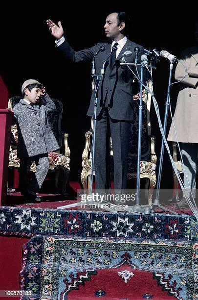 CloseUp Of The King Hassan Ii Of Morocco Au Maroc en janvier 1968 le Roi HASSAN II portant un costume cravate durant un discours devant des micro et...