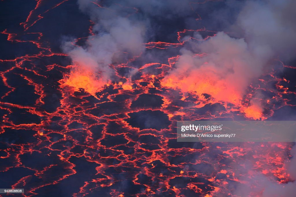 Closeup of the lava lake inside the crater of Nyiragongo : Stock Photo