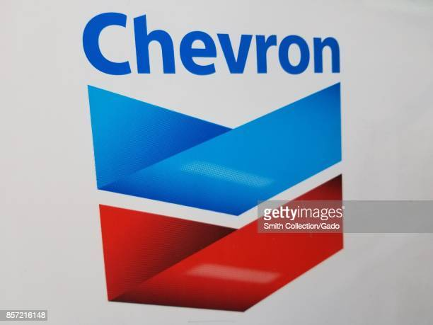 Closeup of the logo for petroleum company Chevron Walnut Creek California September 28 2017