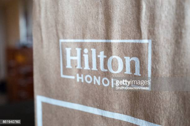 Closeup of the logo for the Hilton Honors program part of the Hilton hotel brand New York City New York September 14 2017
