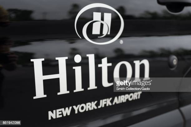 Closeup of the logo for the Hilton Hotel at John F Kennedy International Airport Queens New York September 14 2017