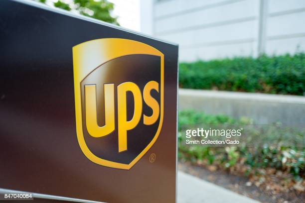 Closeup of the logo for United Parcel Service on a package drop box in an office park in Concord California September 8 2017