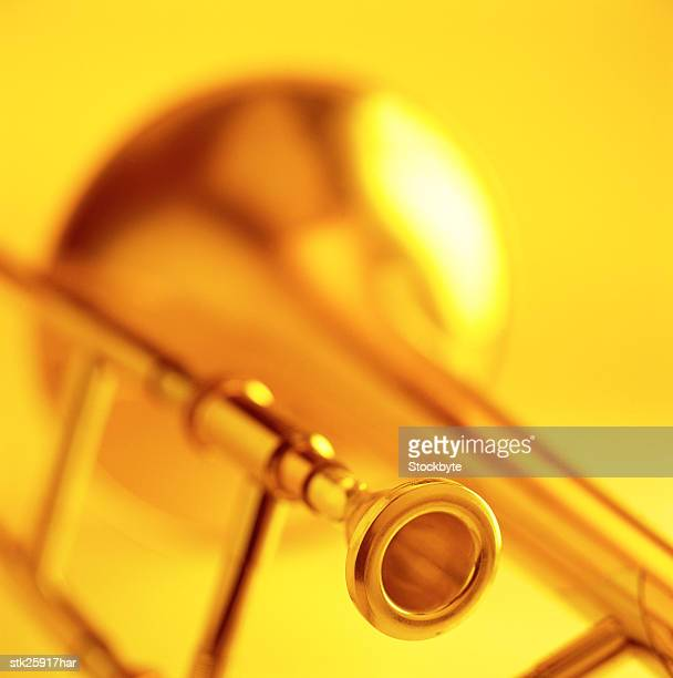 close-up of the mouth piece of brass wind instrument