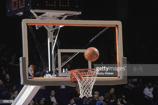 A closeup of the new light rimmed backboard that is designed to assist the officials on buzzer beater shots The lights would illuminate as the shot...