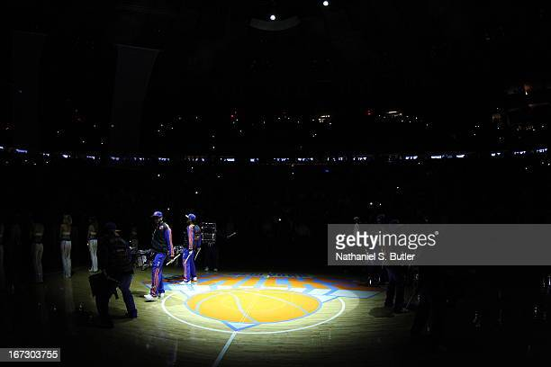 A closeup of the New York Knicks logo in the floor prior to Game Two of the Eastern Conference Quarterfinals during the 2013 NBA Playoffs on April 23...