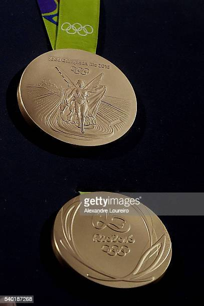 A closeup of the Olimpic gold medals during the Launch of Medals and Victory Ceremonies for the Rio 2016 Olympic and Paralympic Games at the Future...