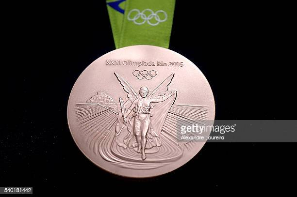 A closeup of the Olympic bronze medal during the Launch of Medals and Victory Ceremonies for the Rio 2016 Olympic and Paralympic Games at the Future...