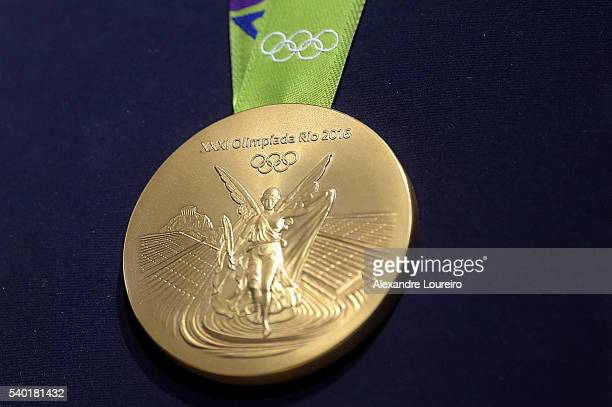 A closeup of the Olympic gold medal during the Launch of Medals and Victory Ceremonies for the Rio 2016 Olympic and Paralympic Games at the Future...