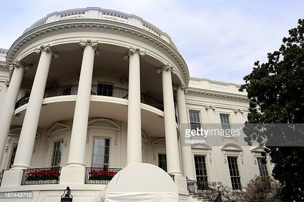 Close-up of the outside of the White House in Washington DC