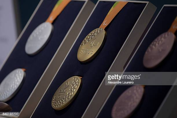 A closeup of the Paralympic medals during the Launch of Medals and Victory Ceremonies for the Rio 2016 Olympic and Paralympic Games at the Future...