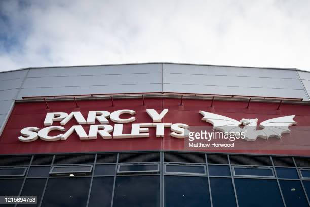 Close-up of the Parc y Scarlets sign as workers fit out the indoor training centre at Parc y Scarlets as a field hospital on March 30 in Llanelli,...