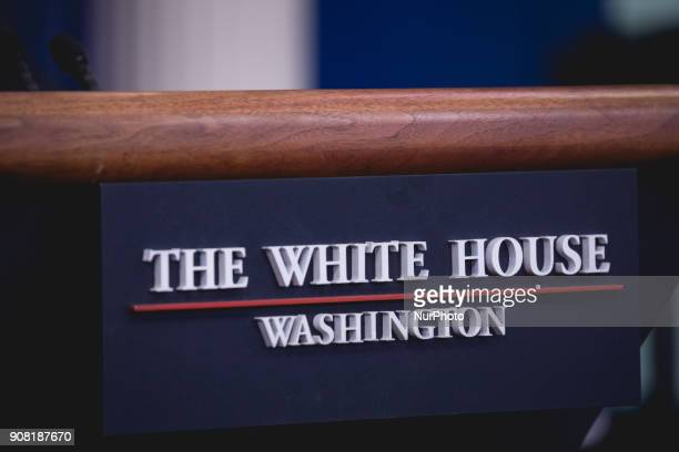A closeup of the podium in the James S Brady Press Briefing Room of the White House in Washington DC on Saturday January 20 2018
