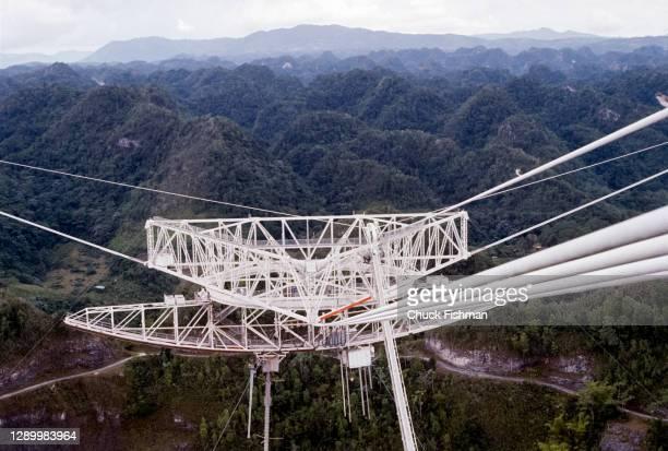 Close-up of the radio telescope's antenna at the Arecibo Observatory , Arecibo, Puerto Rico, July 1977.