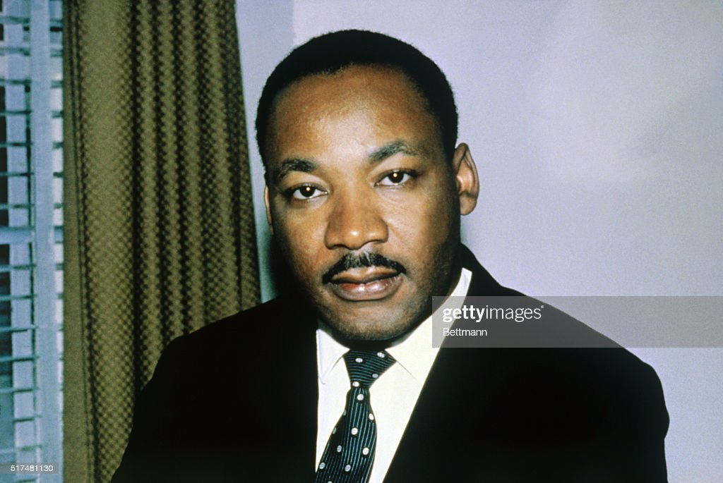 Close-up of the Reverend Dr. Martin Luther King, Jr. shown in this photo headshoulders, alone.