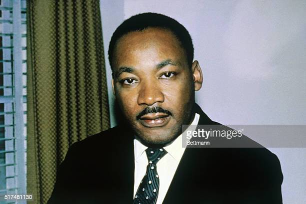 Closeup of the Reverend Dr Martin Luther King Jr shown in this photo headshoulders alone