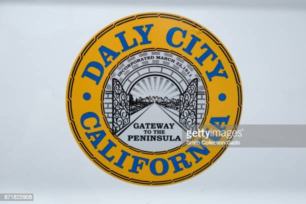Closeup of the seal of the city of Daly City in the San Francisco Bay Area town of Daly City California November 3 2017