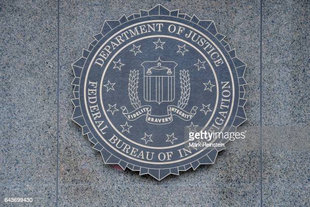 Closeup of the seal of the Federal Bureau of Investigation of the wall of J Edgar Hoover FBI Building Washington DC January 21 2017