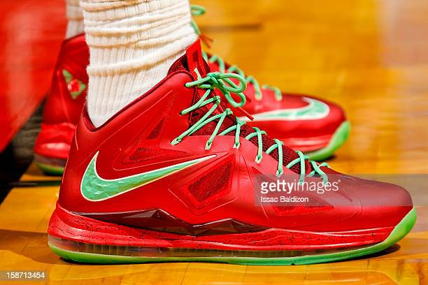 A closeup of the seasonal Nike sneakers of LeBron James of the Miami Heat as he plays against the Oklahoma City Thunder during a Christmas Day game...