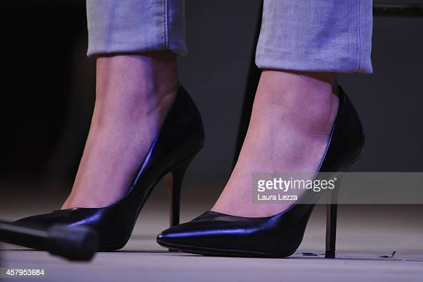 A closeup of the shoes Italian Minister Maria Elena Boschi as she speaks during the meeting of the Leopolda 2014 on October 26 2014 in Florence Italy...