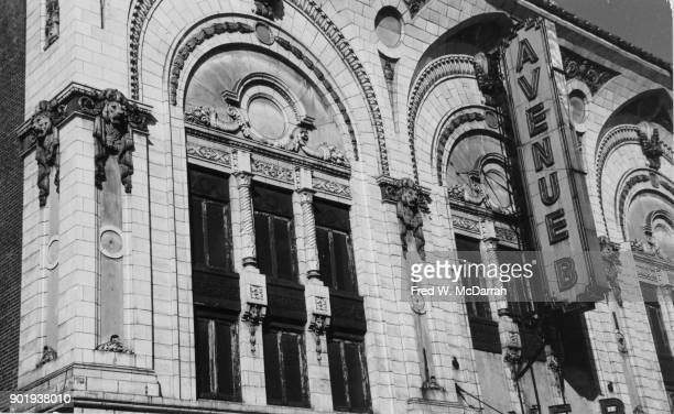 Closeup of the sign of the Loew's Avenue B theater New York New York November 20 1963 The venue originally a vaudeville theatre had been built by...