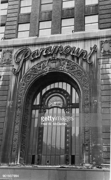 Closeup of the sign on the Paramount Theatre cinema New York New York April 23 1967 The photo was taken shorty after the removal of a billboard...